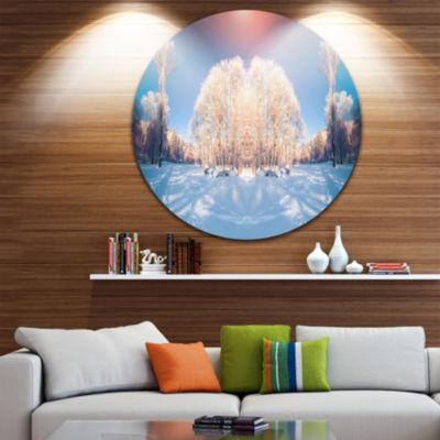 Design Art Horizontally Flipped Winter Trees ExtraLarge Seashore Metal Circle Wall Art