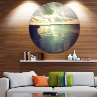 Design Art Dark Seascape with Cloudy Sky Extra Large Seascape Metal Wall Decor