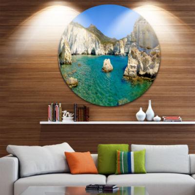 Design Art Turquoise Water Beach Panorama Extra Large Seashore Metal Circle Wall Art