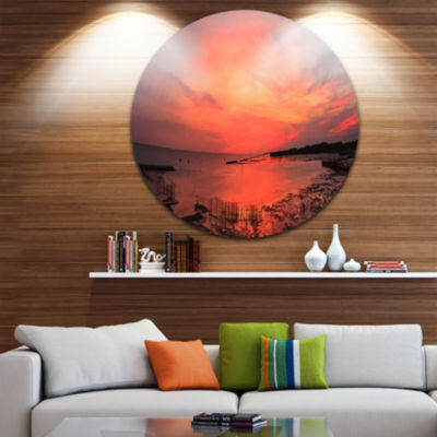 Design Art Outstanding Panorama of Sunset in Sea Extra Large Seascape Metal Wall Decor