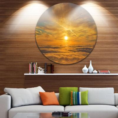 Design Art Golden Sunset over Clouds Oversized Beach Metal Circle Wall Art