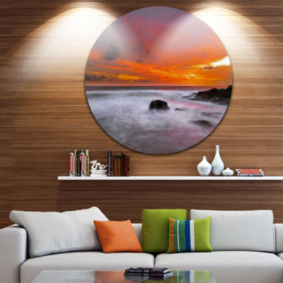 Design Art Vividly Colorful Tropical Beach at Sunset Extra Large Seascape Metal Wall Decor