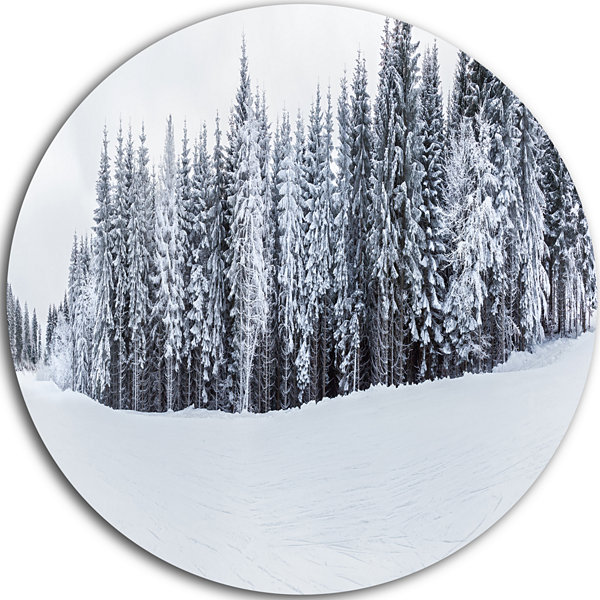 Design Art Black and White Snow Capped Hills Landscape Metal Circle Wall Art