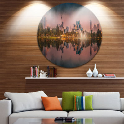 Design Art Kula Lumpur Night Scenery Landscape Metal Circle Wall Art