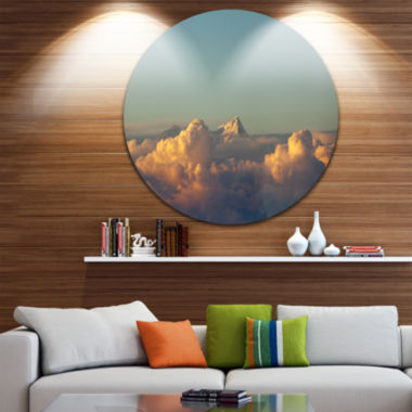 Design Art Orange Clouds Colorful Sunset in Sky Extra Large Wall Art Landscape