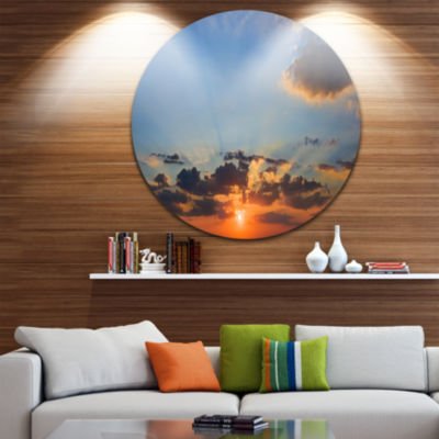 Design Art Beautiful Cloudy Sunset Panorama ExtraLarge Seascape Metal Wall Decor