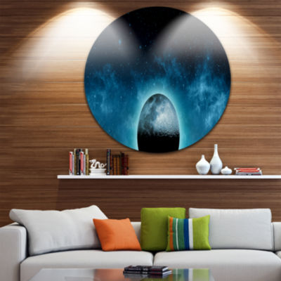 Design Art Moon In the Front of Galaxies Extra Large Wall Art Landscape