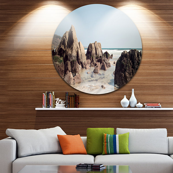 Design Art Large Rocks at Coast Panorama Extra Large Seashore Metal Circle Wall Art