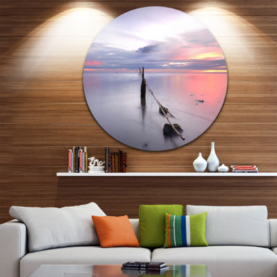 Design Art Lazy River at River Tejo Sacavem Seashore Metal Circle Wall Art