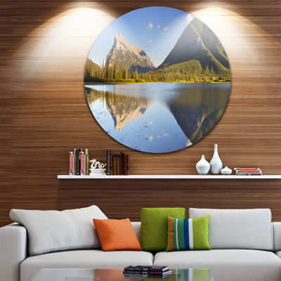 Design Art Vermillion Lakes and Mount Rundle Landscape Metal Circle Wall Art