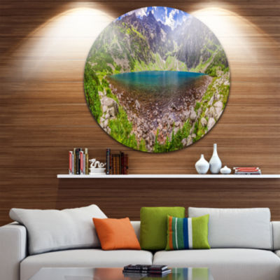 Design Art Pond in Middle of Mountains Panorama Landscape Metal Circle Wall Art