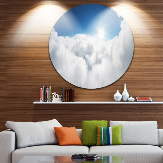 Design Art Blue Sky and Sun over Clouds Contemporary Landscape Metal Circle Wall Art