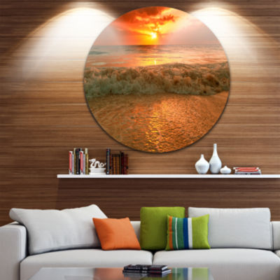 Design Art Amazing Beauty of Sun Reflection in SeaExtra Large Seascape Metal Wall Decor