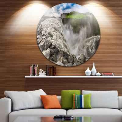 Design Art Dettifoss Waterfall Iceland Panorama Landscape Metal Circle Wall Art