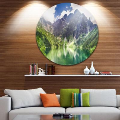 Design Art Green Lake in Mountains Panorama Landscape Metal Circle Wall Art
