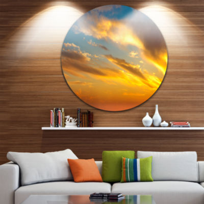 Design Art Amazing Golden Sky at Sunset Seashore Metal Circle Wall Art