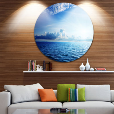 Design Art Blue Caribbean Sea and Perfect Blue SkyExtra Large Seascape Metal Wall Decor