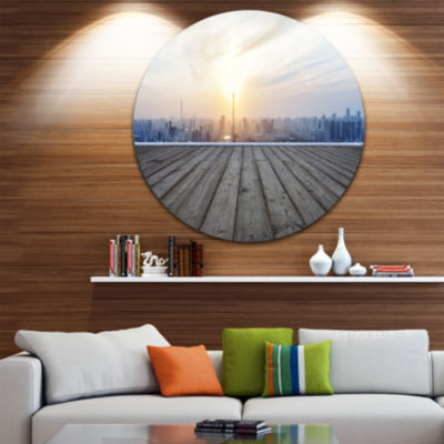 Design Art Buildings with Empty Wooden Board Landscape Metal Circle Wall Art