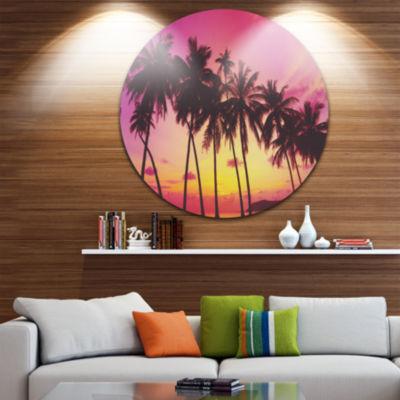 Design Art Row of Beautiful Palms under Magenta Sky Extra Large Wall Art Landscape