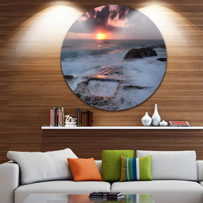 Design Art Cable Shallow Coast Cascais Portugal Seashore Metal Circle Wall Art