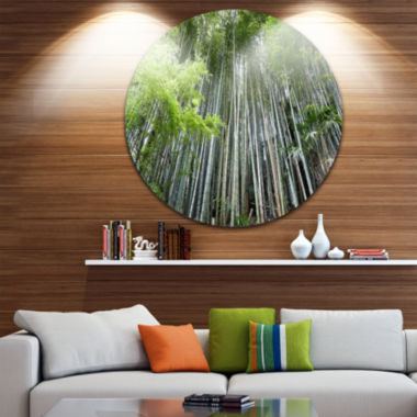 Design Art Dense Bamboo Forest of Japan Forest Metal Circle Wall Art Print