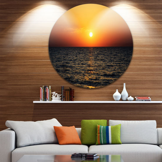 Design Art Sunset Panorama under Sea Surface Seashore Metal Circle Wall Art