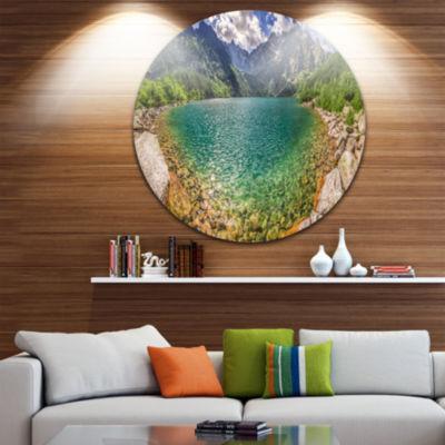 Design Art Tatra Lake at Dawn Panorama Landscape Metal Circle Wall Art