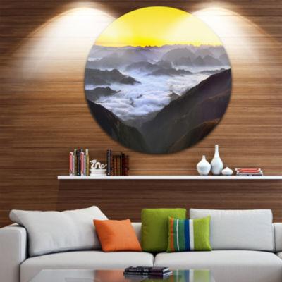 Design Art Foggy Sunrise Over Mountains LandscapeMetal Circle Wall Art