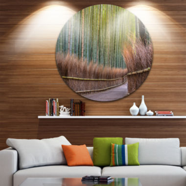 Design Art Pathway Inside Bamboo Forest Forest Metal Circle Wall Art Print
