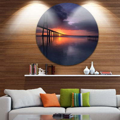 Design Art Vasco Da Gama Bridge Portugal Pier Seascape Metal Circle Wall Art