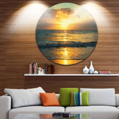 Design Art Exotic Water and Sky Sunset Panorama Seashore Metal Circle Wall Art