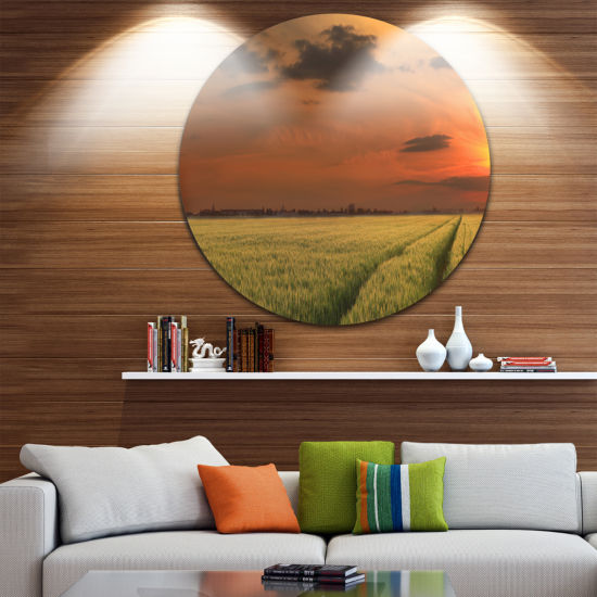 Design Art Sunset over a Field of Cereals Extra Large Wall Art Landscape