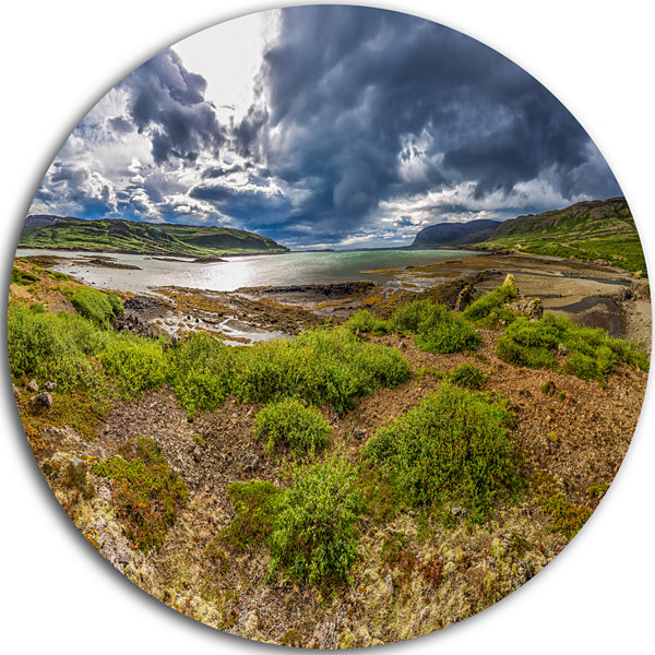 Design Art Green Cloudy Coast Panorama Landscape Metal Circle Wall Art