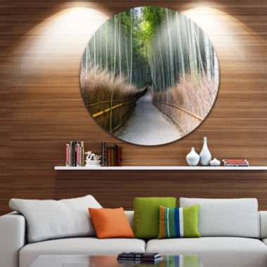 Design Art Straight Path in Bamboo Forest Forest Metal Circle Wall Art Print