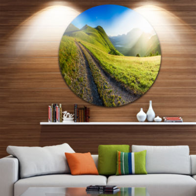 Design Art Sunrise Over Mountains in Umbria Landscape Metal Circle Wall Art