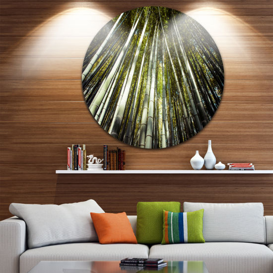 Design Art Long Bamboos in Bamboo Forest Forest Metal Circle Wall Art Print