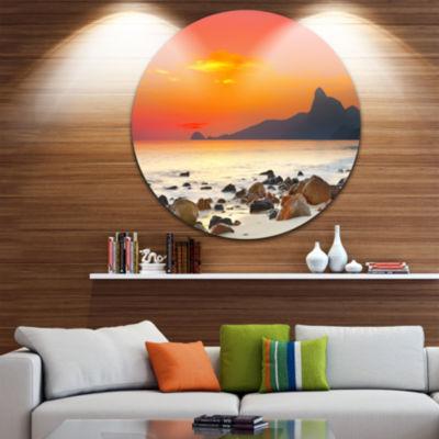 Design Art Rocky Seashore under Colorful Sky ExtraLarge Seascape Metal Wall Decor
