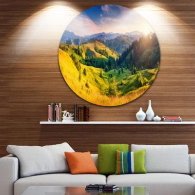 Design Art Green Hills Glowing by Sunlight Landscape Metal Circle Wall Art