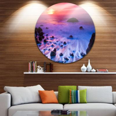 Design Art Bluish Waters at Sunset Panorama Seashore Metal Circle Wall Art
