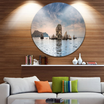 Design Art Crimean Peninsula Seashore Panorama Seashore Metal Circle Wall Art