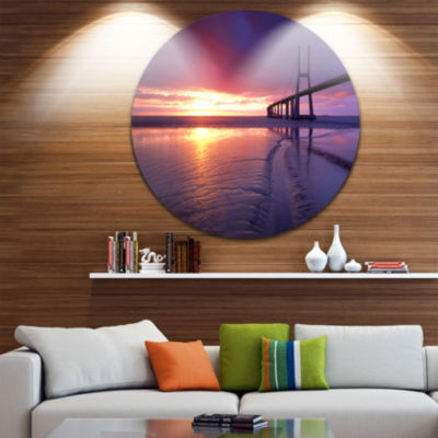 Design Art Colorful Vasco Da Gama Bridge Pier Seascape Metal Circle Wall Art