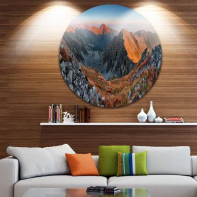 Design Art Slovakia Mountains at Autumn LandscapeMetal Circle Wall Art