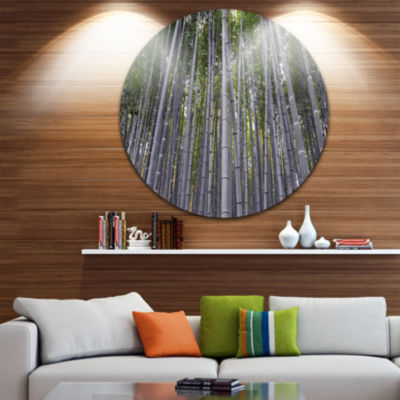 Design Art Thick Bamboo Trunks in Japan Forest Metal Circle Wall Art Print