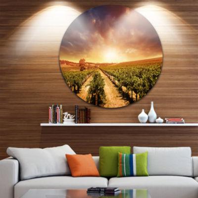 Design Art Vineyard with Stormy Sunset Extra LargeWall Art Landscape