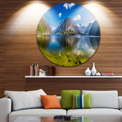 Design Art Crystal Clear Mountain Lake in Alps Landscape Metal Circle Wall Art