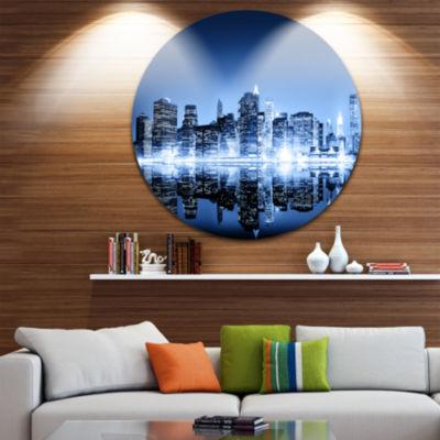 Design Art Night New York City Mirrored CityscapeMetal Circle Wall Art