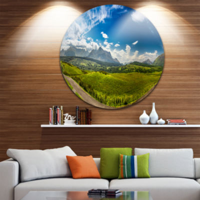 Design Art Scottish Highlands Panoramic View Landscape Metal Circle Wall Art