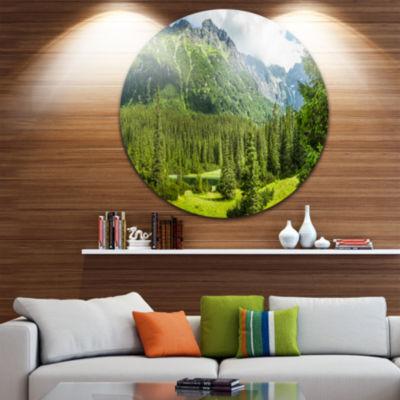Design Art Green Small Lake Panoramic View Landscape Metal Circle Wall Art