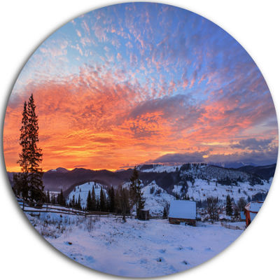 Design Art Snowy Colorful Dawn in Mountains Landscape Metal Circle Wall Art