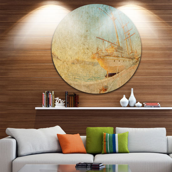 Design Art Old Sailing Ship in Sunlight Extra Large Seascape Metal Wall Decor